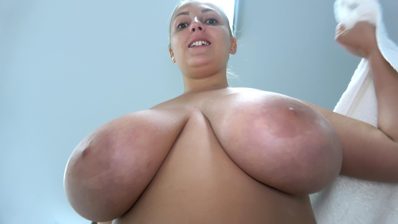 Blonde chubby with monster boobs